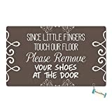 LEHEZZO Since The Little Fingers Touch Our Floor Please Remove Your Shoes Funny Entrance Custom Doormat Door Mat Machine Washable Rug Non Slip Mats Bathroom Kitchen Decor Area Rug 15.7X23.6 Inch
