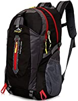 Aidonger Unisex Vintage 40L Hiking Backpack Travel Daypack (Black)