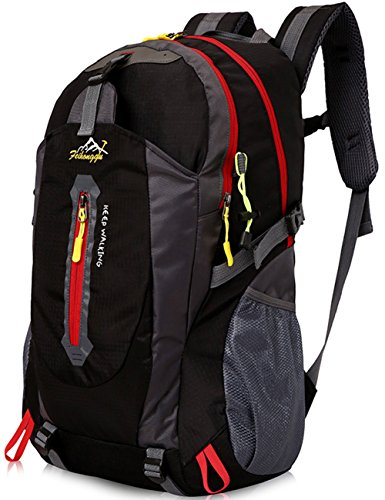 Aidonger Unisex Vintage 40L Hiking Backpack Travel Daypack (Black)