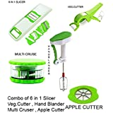 JD Combo Of 6 In 1 Slicer/Veg Cutter/Multi Cruser/Hand Blander/Apple Cutter
