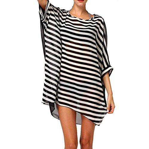 Jastore®5 Farben Pareo Damen Strandponcho Sommer Überwurf Kaftan Strandkleid Bikini Cover Up Schwarz Weiß