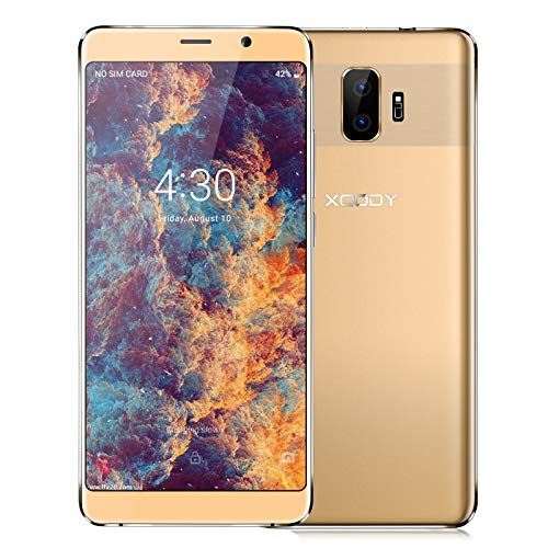 XGODY Y27 SIM Kostenloses Handy, Android 8.1 Mobiltelefon, Dual SIM 3G entsperrtes Smartphone, 6,0 Zoll IPS-Display, 5MP + 5MP Dual-Kameras, 2500mAh Bluetooth-GPS Gold mit hoher Kapazität