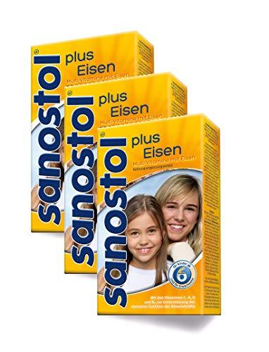 Sanostol plus Eisen: Multi-Vitamine für Kinder ab 6 Jahren und Erwachsene, mit Vitaminen und Eisen, 3x230ml - Multivitamin Plus Eisen