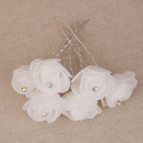 Sharplace 6pcs/Lot Epingle Cheveux Mariage Fleur Eponge Blanche en Strass U Pin à Chignon Bijoux Pique Coiffure Mariage