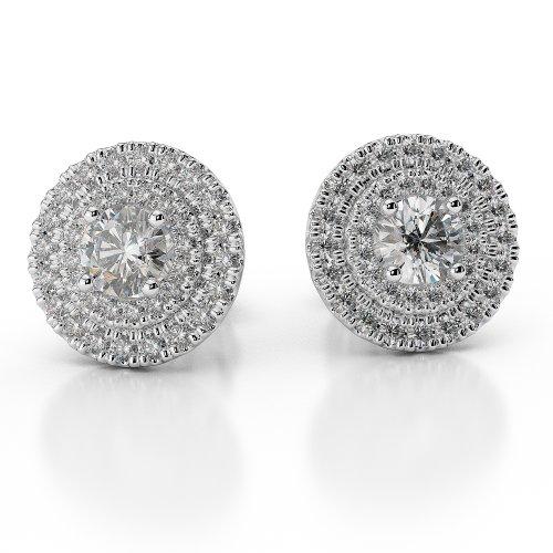 G-H/VS 0,46CT sertie de diamants taille ronde Halo Boucles d'oreilles en platine 950Agder-1013