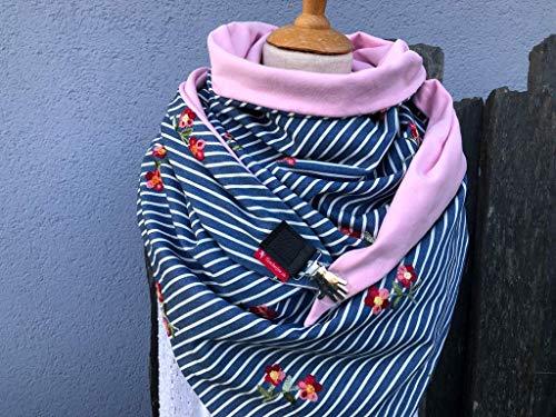 """TUECHERFEE - EXKLUSIV\"""" Einfach nur schön\""""/Jeans/Sweat/XXL Dreieckstuch in blau/weiß/rosa/wendbar/Tuch mit Clip zum Verschließen/Stola"""