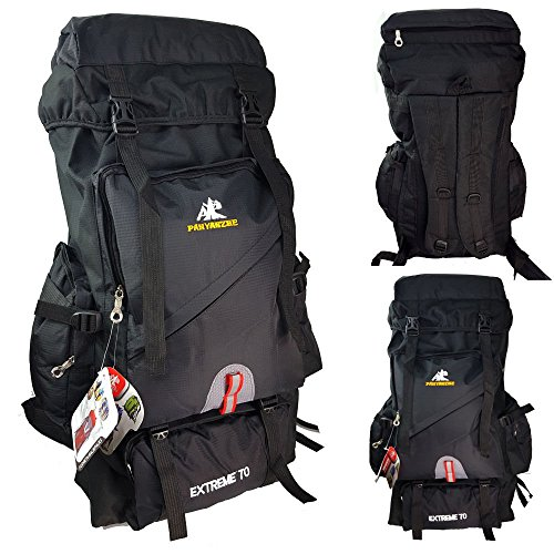 70L OUTDOOR TRAVEL RUCKSACK Bergsteigen Rucksack Tasche 4Farbe schwarz - schwarz