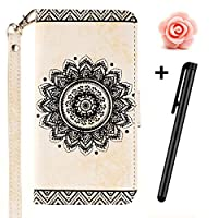 Samsung Galaxy S5 case,Samsung Galaxy S5 Flip Case,Samsung Galaxy S5 Leather Case,TOYYM Vintage Mandala Flower Embossing Series Premium PU Leather Wallet Magnetic Flip Case Cover with [Credit Card Holder Slots] Standing Folio Book Style Type Fashion Ultra Slim Fit Protective Folder Case Cover Skin f