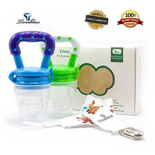 Frutta Ciuccio, Tinabless 2 Pezzi in silicone Nibber feed con il silicone Teat Silicone senza BPA Massaggiagengive per Bambini con la clip (Verde, blu)