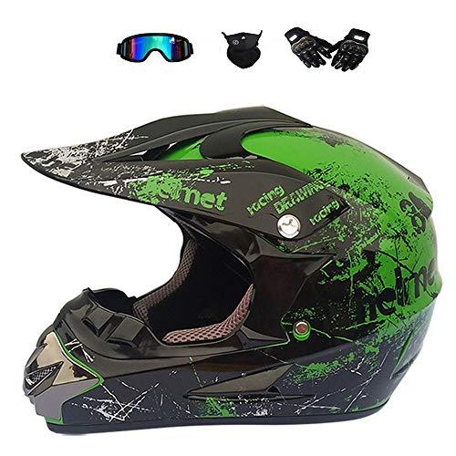 BMAQ Full-Face MTB Helm Adult, Crosshelm Grün mit Brille UV Sschutz Handschuhe Maske, Männer Langlauf Motorrad Vollhelm für Downhill und Mountainbiking,M(56~57CM) (Grün Full Face Maske)