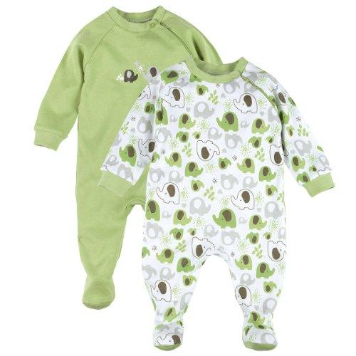 BORNINO 2er-Pack Schlafoveralls Baby-Nachtwäsche Baby-Schlafanzug, Größe 74/80, grün