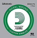 D\'Addario Corde seule avec filet en nickel pour guitare électrique D\'Addario NW070, .070
