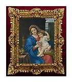 Repro MSC4 - Quadro con Immagine di Maria Bimbo Ikonen in Stile Anticato Barocco, 45 x 38 cm