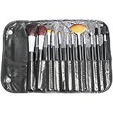 12 pinceles profesionales de maquillaje en negro con mangos de madera para maquillaje artístico y embellecimiento por Kurtzy TM