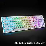 Beautyrain 104Pcs ABS Runde Key Caps Hintergrundbeleuchtung für Querachse mechanische Tastatur (weiß)