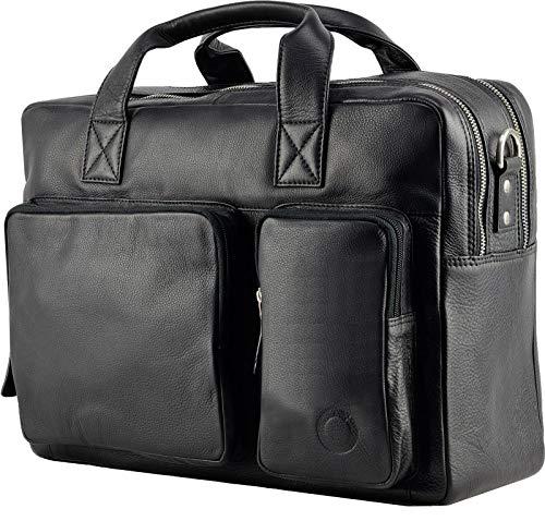 Messenger bag Aktentasche Schultertasche Umhängetasche DIN-A4 Laptoptasche 15,6 Henkeltasche Echt Leder Schwarz