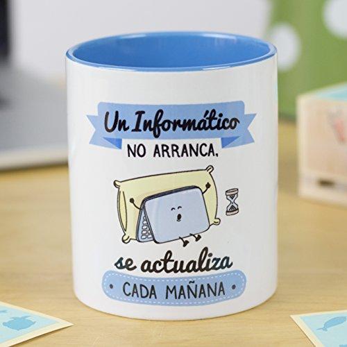 La Mente es Maravillosa - Taza frase y dibujo divertido (Un informático no arranca, se actualiza cada mañana) Regalo Informático