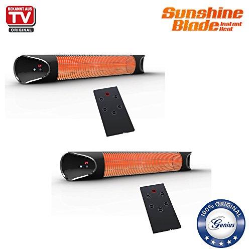 Genius 2 x Sunshine Blade | Infrarot-Heizstrahler inkl. Wandmontagezubehör | Carbonfaser | 220-240 V | 1700 - 2150 W | LED-Display | NEU