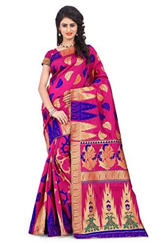 Woman style Woman's Banarasi Silk Pink Sarees with Poly Cotton blouse