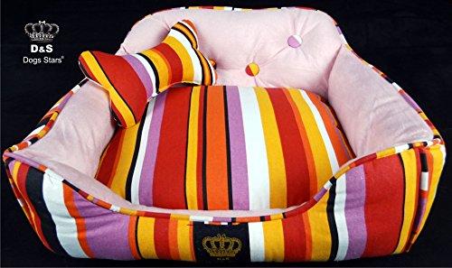 Bild von: Hundebett Pink Stripes - Schlafplatz - kuschelig weich - 50x40x30cm - Dogs Stars