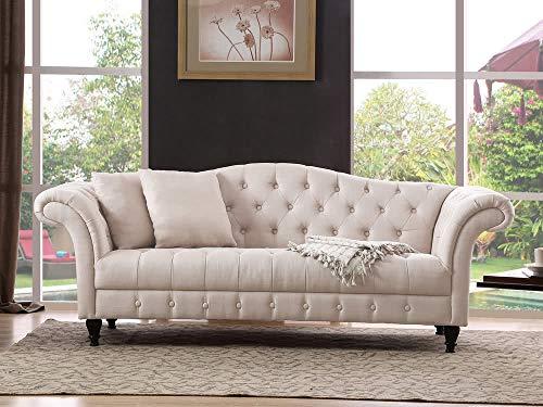 DLM Design Chesterfield Sofa, Stoff, Beige