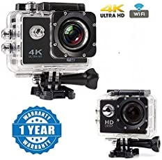 Drumstone Wi-Fi 4K Waterproof Sports Action Camera for all Smartphones (Multicolour)