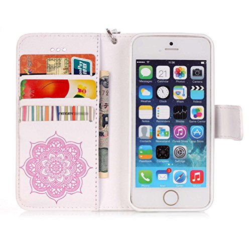 Custodia per Apple iPhone 6 Plus / 6S Plus (5.5 pollice), HB-Int 3 in 1 PU Cuoio Cristallo Strass Copertura Dreamcatcher Elegante Stampa Caso con Lanyard Protettiva Flip Wallet Cover Fashion Disegno C Rosa e Bianco