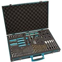 Preciso diseñado Makita 120piezas Pro-XL para herramientas eléctricas Brocas y accesorios Set en maletín de aluminio [Multi Set]–W/Seguridad rescu3® garantía