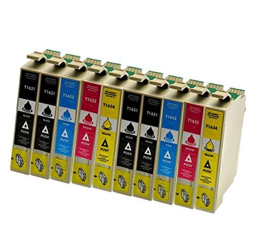 Azprint 10er Set Kompatibel Epson T16XL T16 xl T1631 T1632 T1633 T1634 Druckerpatronen | 4 Schwarz, 2 Blau, 2 Rot, 2 Gelb