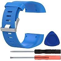 VORCOOL Fitbit Surge Bands, Correa de Repuesto Band para Fitbit Surge Watch Wriststrap Wrist Band Accessories con Herramienta - Talla L (Azul Cielo)