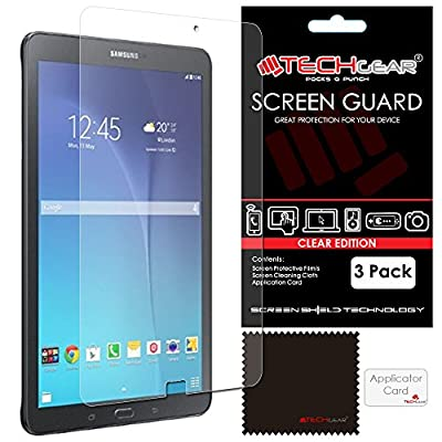 [Pack of 3] TECHGEAR® Samsung Galaxy E 9.6 Inch CLEAR LCD Screen Protectors With Cleaning Cloth + Application Card (SM-T560, SM-T561, SM-T565)