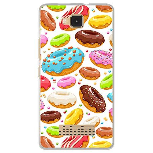 BJJ SHOP Transparent Hülle für [ Cubot Echo ], Klar Flexible Silikonhülle, Design: Süße Doughnuts mit Glasur und Chips