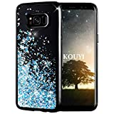 KOUYI Galaxy S8 Hülle Glitzer, Luxus Fließen Flüssig Glitzer Mode 3D Bling Dynamisch Silikon Flexible TPU Kreativ Shiny Glitter Cover Beschützer für Samsung Galaxy S8 (Silberblau)