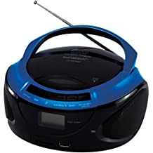 Sunstech CRUSM395BTBL - Radio CD con Bluetooth, USB y lector de tarjetas, color azul