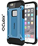 #10: Cubix® Shock Proof Case For Apple iPhone 6 Plus Tough Armor Tech Series Back Cover case With Premium Carbon Fiber Texture 4 Side Air Cushion Extra Soft Buttons - Blue