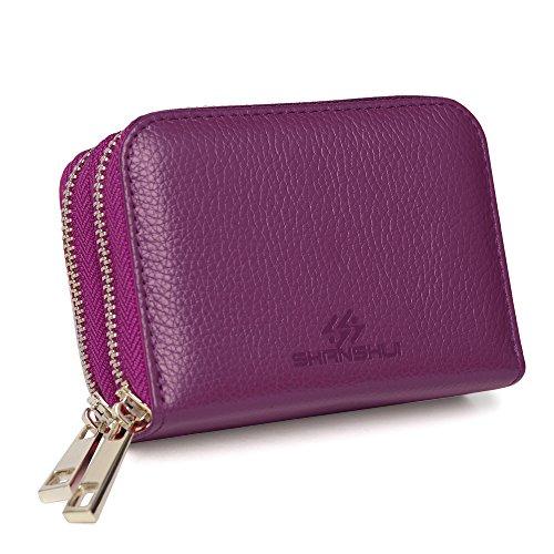 Damen Kreditkartenetui echtes Leder RFID Blocking Kreditkartentasche Portemonnaie und Geldbörse in einem (Purpur) (Leder Zwei Reißverschluss)