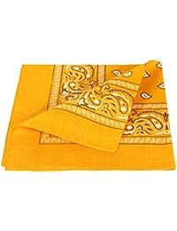 Bandana jaune motif paisley (Alsino ba-55) de qualité supérieure 100% coton, environ 54 x 54 cm foulard zandana écharpe accessoire vêtement vacances d'été printemps, ballade en moto vélo bateau