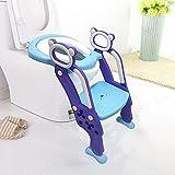 Töpfchen Trainer Kinder Töpfchentrainer Toiletten Einstellbar Toilettensitz mit Leiter und verstellbare Schritte (Blau)