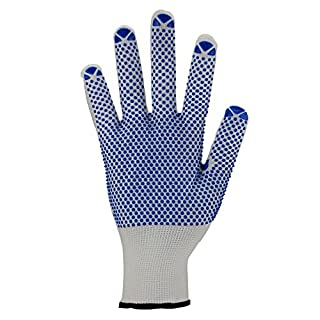 Asatex 3640 10 Fine Knit Gloves with Dot Benoppung and Knitted Cuff - White/Blue, Size 10