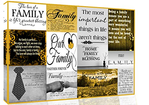 "Family Quotes Canvas Wall Art Picture Yellow/Mustard and Grey 100% cotton A1, A2, A0 (40"" x 25"" (101cm x 63cm))"