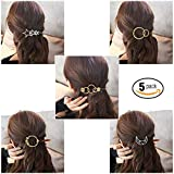 Hair Clips, SGM 5 Pieces Minimalist Hair Clips Hairpin Hair Clamps Combo,Circle,Triangle, Moon and Infinity Pattern for Women Girls (Gold & Silver) [5 PACK]