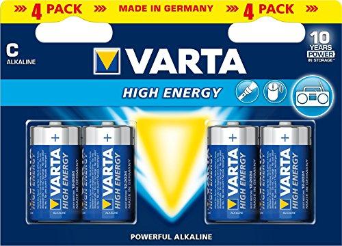 Galleria fotografica Varta High Energy Batteria Alcalina, MezzaTorcia C LR14 Baby, Confezione da 4 Pile