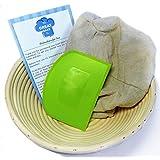 Banneton Proofing Set (4 piezas) - PREMIUM 22,5cm redondo Pan Proofing Brotform Basket, espátula, gamuza de lino maletero e instrucciones (en ingles) por la gran Bake Co.