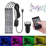 Bawoo AL71212, Striscia Luce Interni con 48 Led RGB per Auto, Illuminazione Auto Strisce 8 Colori, 4 Modalità Musica, Telecomando, USB HUB Auto