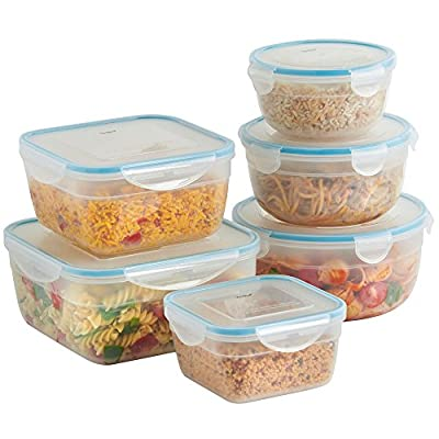 VonShef 6 Piece Microwavable Plastic Food Storage Container Set with Air Tight Lids from
