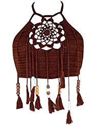 Damen Sommer Bralette Crop Häkeltop BH Crochet Strick Bustier mit Fransen Quasten Bikini Oberteil Strand Weste Strandmode