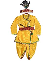 FOCIL Yellow Krishna Dhoti Kurta Dress for kids (Pack of 4--Basuri,Mor Pankh mukut,Bandhni Patka & Dhoti Kurta)
