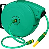 TecTake Enrouleur de tuyau | Enroulage automatique | Support mural avec | Pompe à eau incluse (Typ 2 No. 402762)