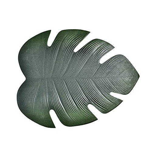 jycra Tisch-Sets Tisch MATS, Hohe Qualität Lotus Blatt oder Tropical Palm Blätter Wärmedämmung Ölfest rutschsicheren Wasserdichter PVC-Kunstpflanze Tischsets für Esstisch, PVC, Tropical Palm Leaf, 6 Pcs