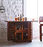 #6: Wooden Stylish Bar Cabinet Liquor With Wine Glass Storage By Mamta Decoration
